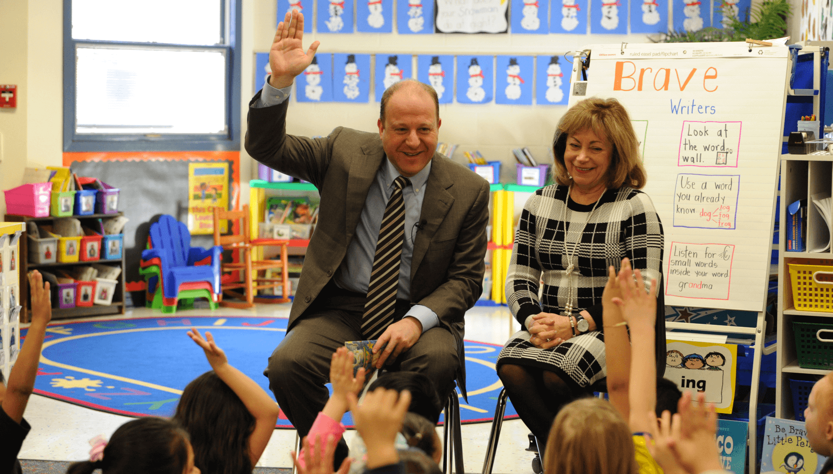 Governor Polis with Lt. Governor Primavera at a School